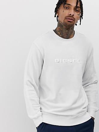 Diesel logo lounge crew neck sweat in white - White
