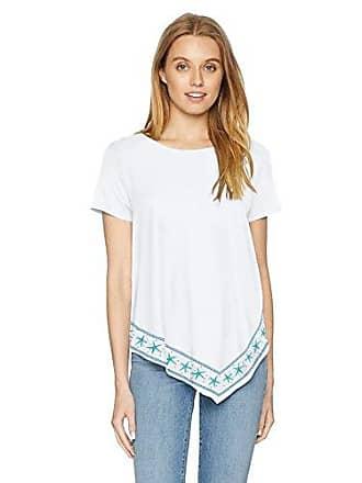 02e7184d47 NYDJ Womens Hankerchief Hem T-Shirt with Embroidery