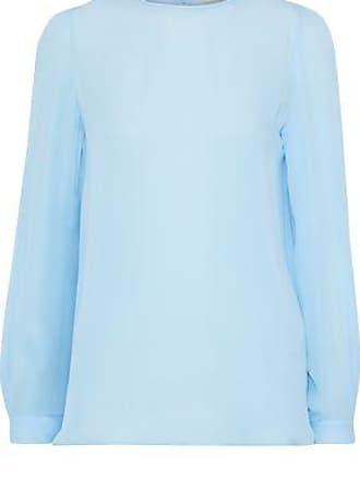 Emilio Pucci Emilio Pucci Woman Silk Crepe De Chine Blouse Sky Blue Size 38