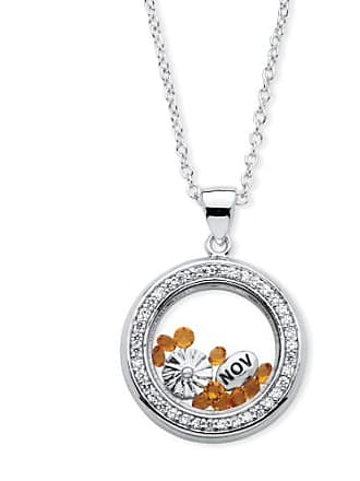 PalmBeach Jewelry 46 TCW Birthstone and CZ Floating Charm Pendant MADE WITH SWAROVSKI ELEMENTS in Silvertone - November- Simulated Citrin