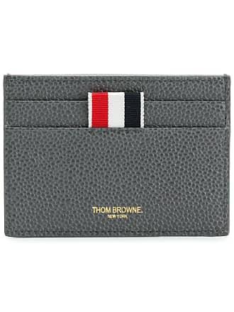 Thom Browne Diagonal Intarsia Stripe Single Cardholder In Pebble Grain Leather - Grey