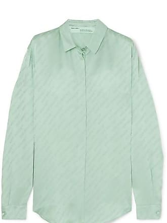 Off-white Satin-jacquard Blouse - Green