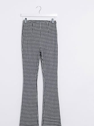 Collusion flare trouser in gingham-Black
