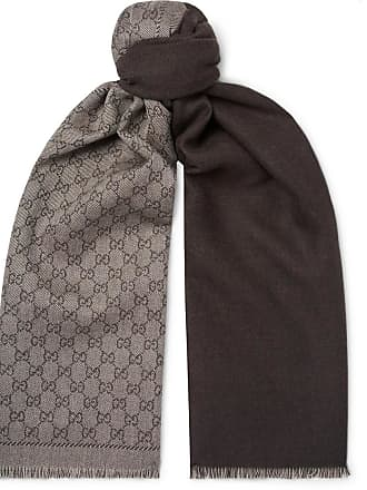 a7ded19e607 Gucci Logo-intarsia Mélange Wool-twill Scarf - Chocolate