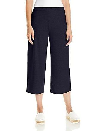 Joan Vass Womens Cropped Wide Leg Pant, Navy 3
