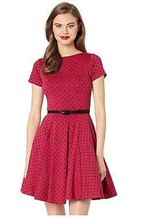f26e08a6a439e Unique Vintage Short Sleeve Fit Flare Dress (Pink Black Dot) Womens Dress