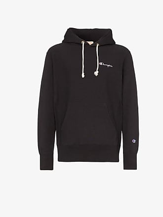 Champion black reverse weave logo embroidered cotton hoodie