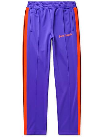 Palm Angels Slim-fit Logo-print Striped Tech-jersey Sweatpants - Purple
