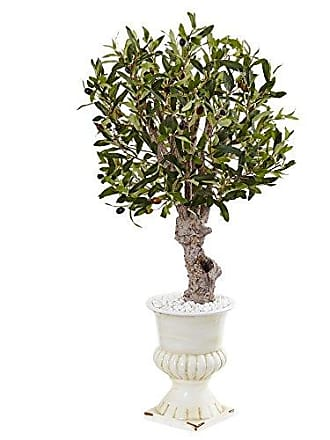 Nearly Natural 3 Olive Artificial Tree in White Urn, Green