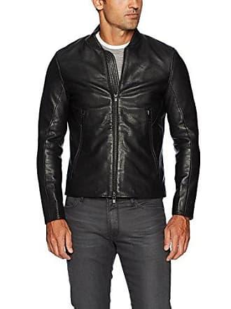 J.Lindeberg Mens Grain Leather Jacket, Black, Large