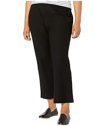 45d2f6be01f866 Eileen Fisher Plus Size Washable Stretch Crepe Flare Ankle Pants (Black)  Womens Casual Pants