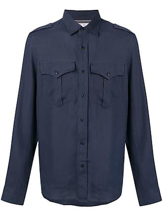 Brunello Cucinelli Camisa slim mangas longas - Azul