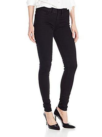 Yummie Tummie Womens Mid Rise Slimming Super Skinny Denim Jeans, Black, 31