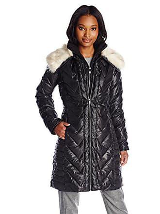 Via Spiga Womens Plus Size Down Coat with Faux Fur Collar, Black, Small
