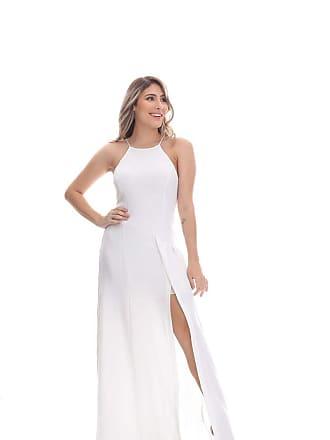 Clara Arruda Vestido Clara Arruda Longo Fenda Frontal 50316 - G - Off White