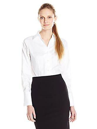 Calvin Klein Womens Long Sleeve Wrinkle Free Non-Iron Shirt, White, 2