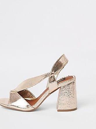 b3d18cc0b03 River Island Womens Gold wide fit cross strap block heel sandals