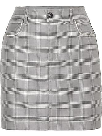 e54b4c9bd Ganni Crystal-embellished Checked Silk And Wool-blend Mini Skirt - Light  gray