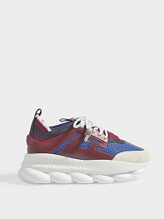 d5dc21a513e Versace Chain Reaction Trainers in Blue and Red Canvas