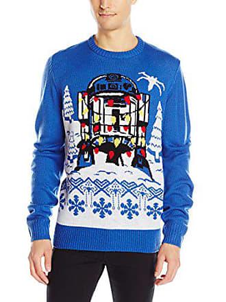Star Wars Mens R2d2 Gift Wrap Sweater, Royal, Medium