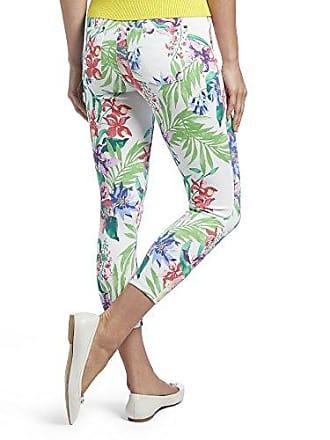 Hue Womens Tropical Orchid Essential Denim Capri Leggings, White, L