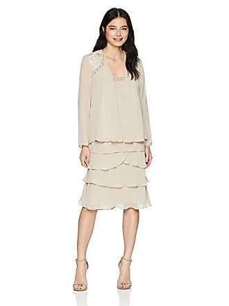 S.L. Fashions Womens Embellished Tiered Jacket Dress (Petite and Regular), Winter Ivory, 12P
