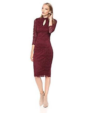 Kensie Womens MIDI LACE Dress, Burgundy, 4
