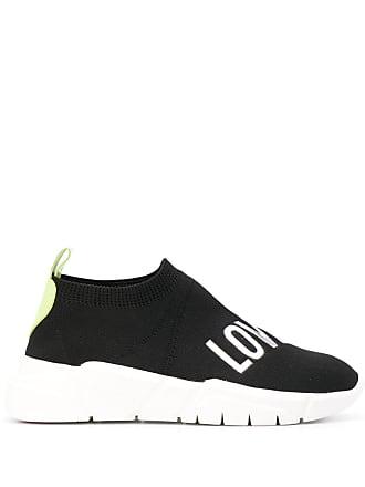 Love Moschino logo print sock sneakers - Black