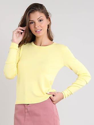 Basics Suéter Feminino Básico em Tricô Decote Redondo Amarelo