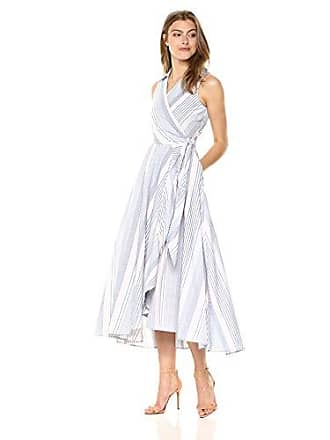 00514c177bd3d Calvin Klein Womens Sleeveless Cotton Faux Wrap with Collar Dress