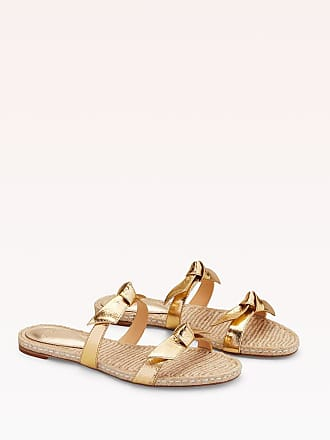 Alexandre Birman Clarita Braided Flat Sandal - 35.5 Gold Metallic Leather