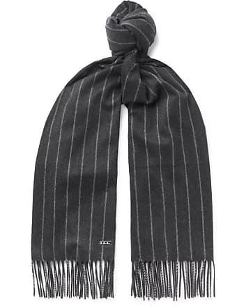 02b9ab1b88f5b Loro Piana Striped Fringed Baby Cashmere Scarf - Gray
