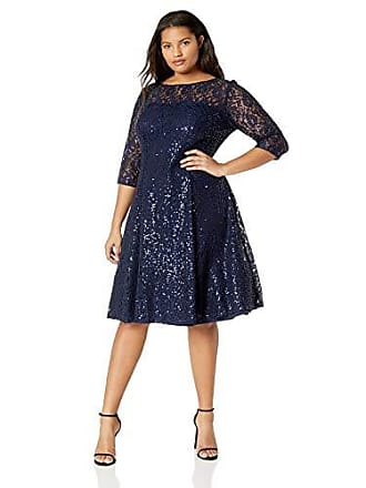 c0fefef54af S.L. Fashions Womens Plus Size Lace and Sequin Fit and Flare Dress