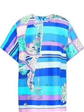 5fdb5e6f7e14b4 Emilio Pucci Emilio Pucci Woman Printed Silk-twill Top Turquoise Size 44