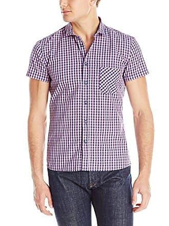 45fdedcc0 HUGO BOSS BOSS Orange Mens Ezippoe Colorful Slub Vichy Short-Sleeve Shirt,  Purple,
