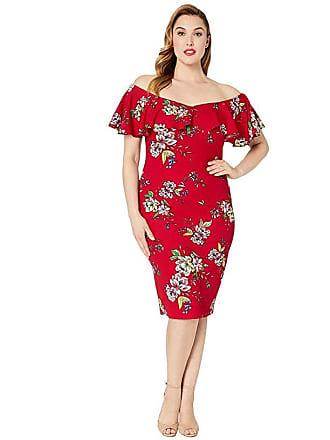 Unique Vintage Plus Size Knit Draped Sophia Wiggle Dress (Burgundy Red Floral) Womens Dress