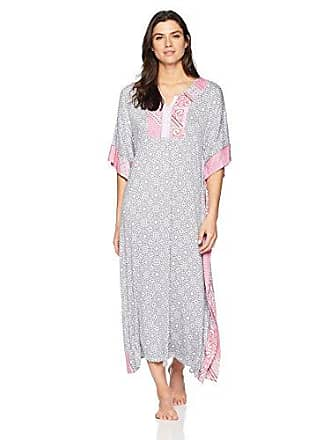 Ellen Tracy Womens Patchwork Printed Caftan, White Novel, S/M