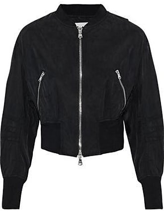 3.1 Phillip Lim 3.1 Phillip Lim Woman Cropped Zip-detailed Washed-shell Bomber Jacket Black Size 0