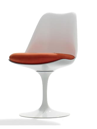 Knoll Tulip Side Chair White Swivel Base & Divina Fabric