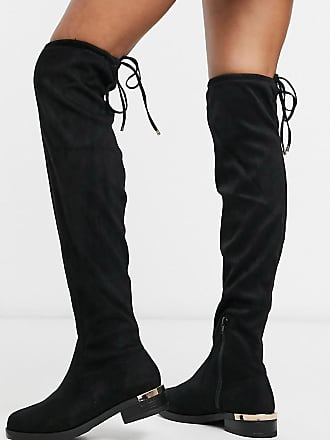 New Look over the knee suedette flat boots in black
