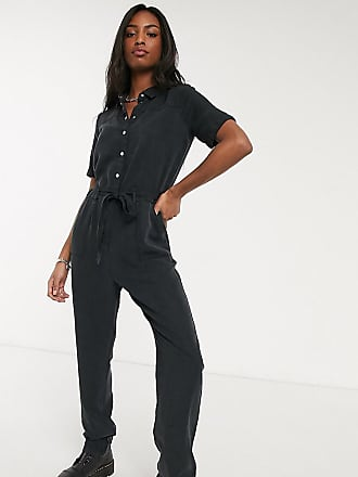 Noisy May utility tie front jumpsuit in black
