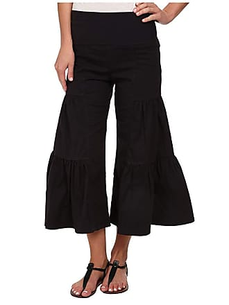 Xcvi Cropped Side Tier Palazzo (Black) Womens Casual Pants