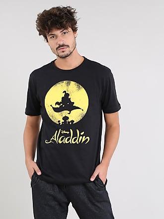 Disney Camiseta Masculina Aladdin Manga Curta Gola Careca Preta