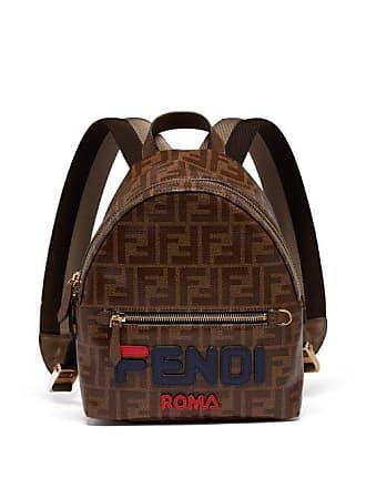48663317b755 Fendi Mania Logo Appliqué Coated Canvas Backpack - Womens - Brown Multi