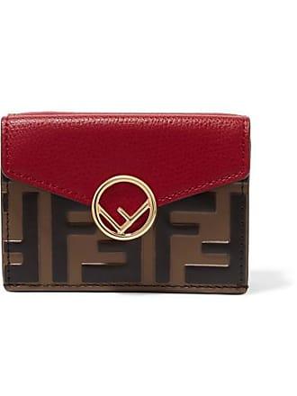 0ec57935ab Fendi Embellished Embossed Leather Wallet - Red