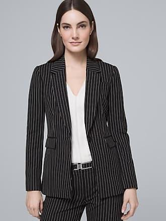 White House Black Market Womens Luxe Stripe Long-Line Suiting Blazer Jacket by White House Black Market, Black/White, Size 00
