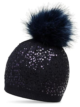 52a8eaa4b6a CASPAR Fashion CASPAR MU186 Women Knitted Winter Bobble Hat with Sequin and  Large Faux Fur Pom