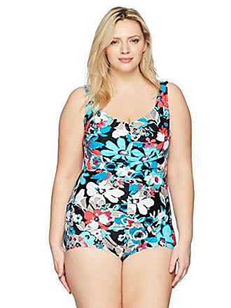 358b42e73c Maxine Of Hollywood Womens Plus Size Pop Floral Shirred Girl Leg One Piece  Swimsuit