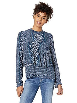 O'Neill Womens Odyssea Long Sleeve Ruffle Top, Medieval Blue, L