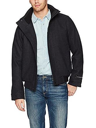 William Rast Mens Waterproof Wool Bomber Jacket, Charcoal, Small